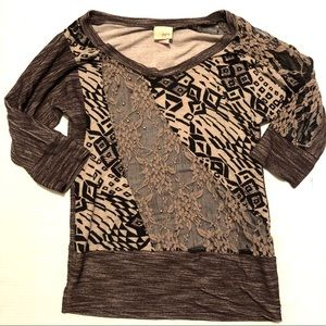Daytrip Lace and Stud Detail Top Neutrals Size S
